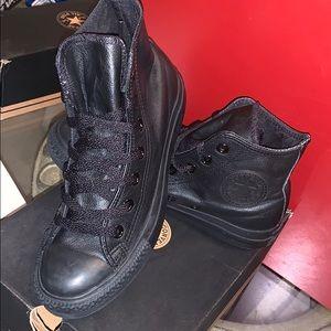 Black Leather Converse (unisex)